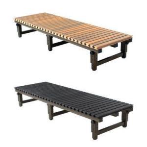 アルミ製縁台 ぬれ縁(濡れ縁)天板は樹脂 高さ調整式130×60cm (木目調・濃茶色)|nakasa2