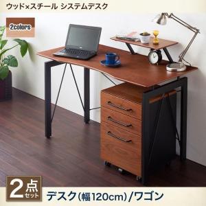 異素材デザインデスク ウッド×スチールの異素材デザイン パソコンデスク 120cm幅 ウォールナット・オーク突板 ワゴン☆TU−EE