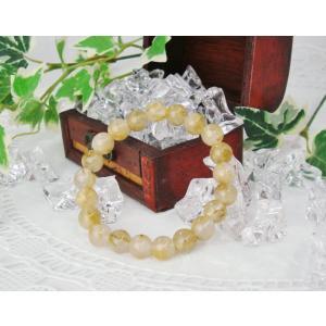 数珠ブレスレット ゴールドルチルクオーツ 9.5ミリ玉 パワ...