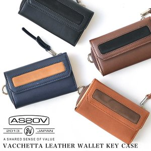 AS2OV ( アッソブ ) VACCHETTA LEATHER WALLET KEY CASE レザー キーケース 革小物|nakota