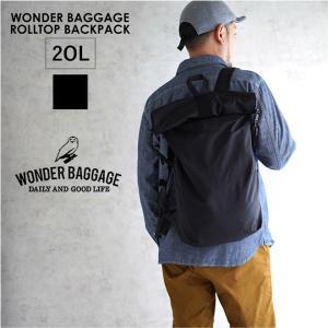 WONDER BAGGAGE ワンダーバゲージ ACTIVATE ROLLTOP BACKPACK リュック カバン メンズ レディース おしゃれ ブラック 黒 アウトドア|nakota