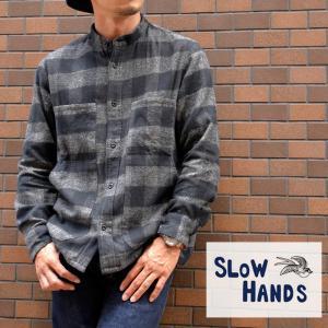 SLOW HANDS(スロウハンズ) メランジチェックノーカラーフォークシャツ Melange Check n/c Folk Shirts コットン 刺繍 カジュアル|nakota