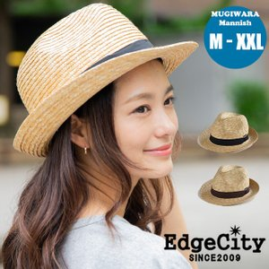 Edgecity MUGIWARA Mannish 中折れ ストローハット 麦わら帽 メンズ レディース 光沢 UV 天然 ツバ広 夏 ベージュ ナチュラル nakota