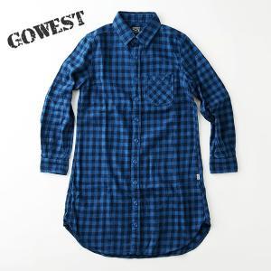 GO WEST ゴーウェスト BASIC RETRO ONEPIECE ベーシックレトロ インディゴ ギンガムチェック シャツ ワンピース|nakota