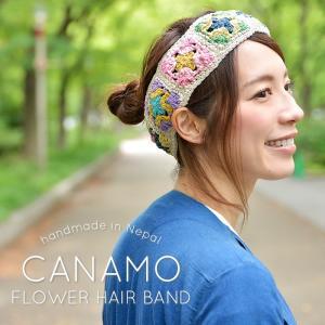 小物 ヘアバンド レディース CANAMO カナモ フラワーモチーフ ヘアターバン セール|nakota