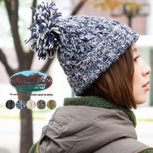 CANAMO カナモ ボンボンケーブル編みニットキャップ 帽子 メンズ レディース 冬|nakota