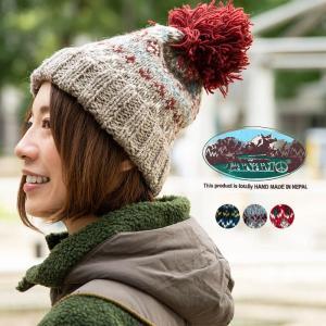 CANAMO カナモ ノルディック柄ボンボンニットキャップ 帽子 メンズ レディース 冬|nakota