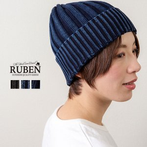 RUBEN ルーベン インディゴ染コットンリブニットワッチキャップ ニットキャップ 帽子 メンズ レディース|nakota