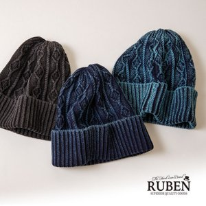 RUBEN ルーベン インディゴ染めリブケーブルワッチキャップ ニットキャップ 帽子 メンズ レディース|nakota