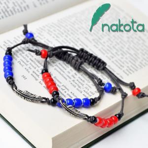 Nakota シルバーフェザー付きビーズブレスレット セール|nakota