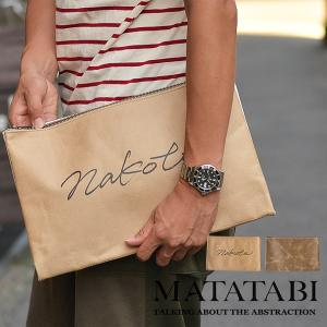 MATATABI×Nakota (マタタビ×ナコタ) ペーパー クラッチバッグ 転写 プリント バッグ 鞄 メンズ レディース TATA 小さめ A4 nakota
