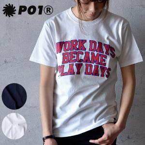PLAY DESIGN (プレイデザイン) P01 CW TEE カレッジロゴ Tシャツ 半袖 ロゴ コットン メンズ レディース|nakota