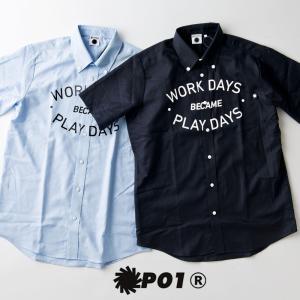 P01 (プレイ) THE PRINT BD SS SHIRTS プリント 半袖 ボタンダウンシャツ|nakota