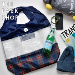 THE PARK SHOP ザ パークショップ MIX PARK TOTE L トートバッグ カバン エコバッグ ナイロン チェック メンズ レディース 買い物|nakota