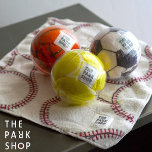 THE PARK SHOP ザ パークショップ PLAYBALL CAPSULE MINITOWEL マイクロファイバーミニタオル 吸水速乾 ハンカチ サッカー 野球 バスケットボール テニス ボール|nakota