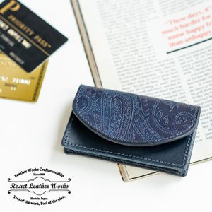 RE.ACT リアクト Paisley Indigo Card Case ペイズリーインディゴカードケース 名刺入れ カード入れ パスケース 本革 日本製 ビジネス プレゼント ギフト|nakota