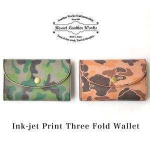RE.ACT (リアクト) インクジェットプリント レザー スリーフォールドウォレット 三つ折り財布|nakota