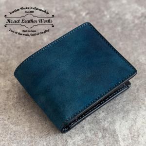 RE.ACT(リアクト) Indigo Basic Wallet インディゴ染め 二つ折り財布 革 日本製 伝統技術メンズ レディース|nakota