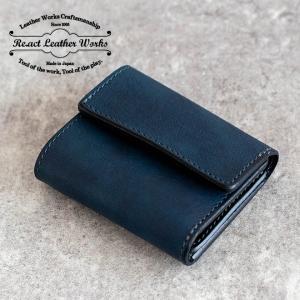 RE.ACT リアクト Solid Indigo Three Fold Compact Wallet コンパクトウォレット 財布 ミニ財布 三つ折り 本革 藍染 メンズ レディース プレゼント ギフト|nakota
