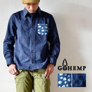 GOHEMP(ゴーヘンプ)CROSSROAD SHIRTS/INDIGO PRINT クロスロードシャツ 長袖 メンズ レディース インディゴ 藍染|nakota