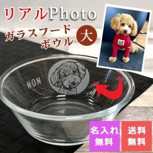 結婚祝い ペット リアルフォト似顔絵ガラスフードボウル(大) 犬 猫 プレゼント 送料無料 新生活|name-yudachigama
