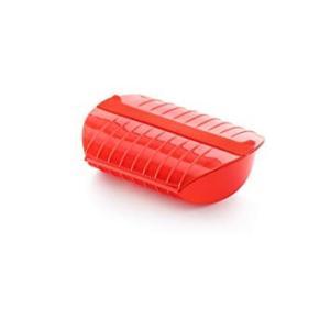 ファミリースチームケース トレイ付き トマト ルクエ (分類:電子レンジ用調理器具)