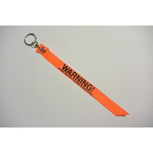 【キーホルダー】WARNING(注意) 【オレンジ】リボンタイプキーホルダー(WARNING Keyholder)|nammara-store