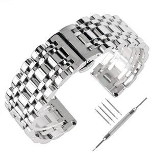 22 mm Solidステンレススチール時計バンドシルバー316lプッシュボタン非表示男性女性ブレス...