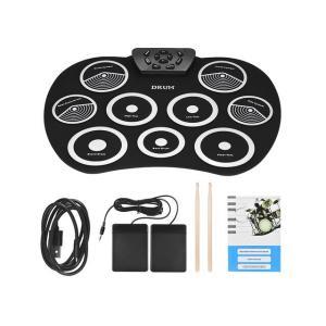 電子ドラム 子供 プレゼント 初心者 ドラムキット 9パッド ドラムスティック ペダル付き ホワイト