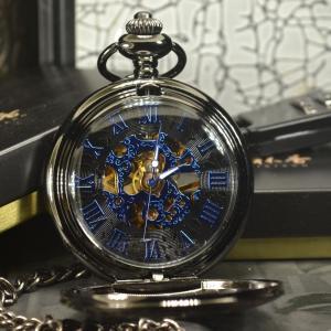 懐中時計 男性向け TIEDAN ブルー スチームパンク スケルトン 機械式懐中時計 ネックレスポケット&フォブチェーン