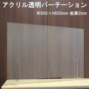 飛沫ガード アクリル透明パーテーション W900×H600mm 板厚2mm 窓付き Mサイズ|nana