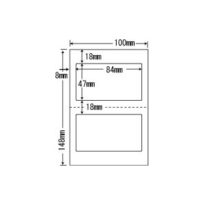 CLH-27(VP2) ラベルシール はがきサイズ 2ケースセット 2000シート 2面 84×47mm マルチタイプ 医療機関向け お薬手帳・薬袋表示ラベル ナナラベル CLH27|nana