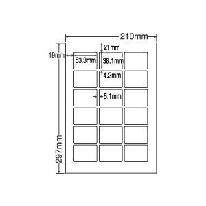 LDW18PC(L) ラベルシール 1袋 100シート A4 18面 53.3×38.1mm マルチタイプ 表示 商用ラベル 東洋印刷  ナナワード LDW18PC|nana