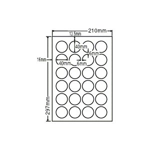 SCJ-18(S) 光沢円形ラベルシール A4 24面 20シート 40×40mm  カラーインクジェット用光沢ラベル ナナクリエイト 東洋印刷 ナナラベル ミニ正円|nana