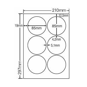 SCJ-5(L) 円形ラベルシール A4 6面 80シート 85×85mm  カラーインクジェット用光沢ラベル ナナクリエイト 東洋印刷 ナナラベル|nana