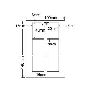 SCJH23(L) 光沢ラベルシール 100シート はがきサイズ 6面 30×40mm ナナクリエイト 東洋印刷 ナナラベル 証明写真シール 履歴書用ラベル|nana