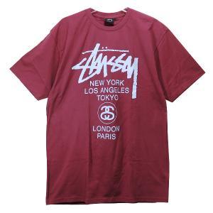 ステューシー Tシャツ STUSSY WORLD TOUR TEE ワールドツアー バーガンディ|nanainternational