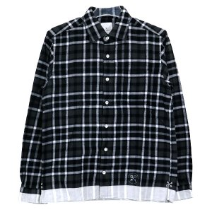 ユニフォームエクスペリメント シャツ uniform experiment 15AW WHITE LINE FLANNEL CHECK REGULAR COLLAR SHIRT UE-145035 フランネル長袖シャツ|nanainternational