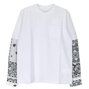 sacai サカイ 21SS ARCHIVE PRINT MIX LONG SLEEVE T-SHIRT 21-02477M アーカイブ プリント ミックス ロングスリーブ Tシャツ ホワイト バンダナ ロンT|nanainternational