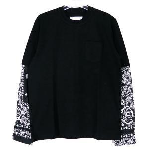 sacai サカイ 21SS ARCHIVE PRINT MIX LONG SLEEVE T-SHIRT 21-02477M アーカイブ プリント ミックス ロングスリーブ Tシャツ ブラック バンダナ ロンT|nanainternational