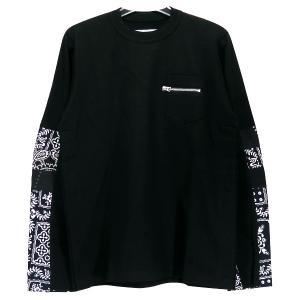 sacai サカイ 21SS ARCHIVE PRINT MIX LONG SLEEVE T-SHIRT 21-02476M アーカイブ プリント ミックス ロングスリーブ Tシャツ ブラック ネイビー ロンT|nanainternational
