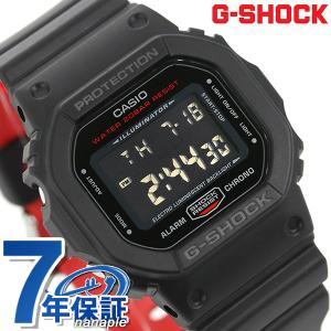 G-SHOCK ブラック & レッド アラーム メンズ 腕時計 DW-5600HR-1DR Gショッ...