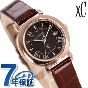シチズン クロスシー エコドライブ電波時計 チタン レディース 腕時計 ES9442-04W CITIZEN xC ヒカリコレクション ブラウン 革ベルト|nanaple
