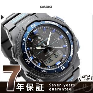 7年保証キャンペーン カシオ スポーツ ギア 腕時計 メンズ 海外モデル ブラック×ブルー CASI...