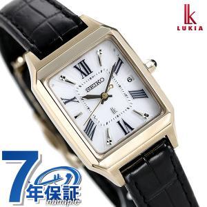 セイコー ルキア 電波ソーラー レディース 腕時計 スクエア SSVW162 SEIKO LUKIA シルバー×ブラック 革ベルト 腕時計のななぷれ