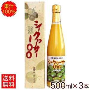 大宜味村生まれのシークワーサー100 500ml×3本 果汁100% 原液 青切り シークワーサージ...