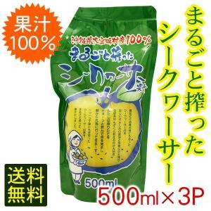 まるごと搾ったシークワーサー 500ml×3パック 果汁100% (宅急便コンパクト送料無料) 青切...