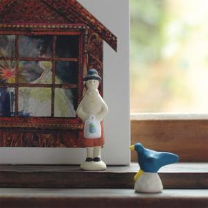 倉敷意匠計画室 下川原焼のにしおゆき人形「青い鳥のチルチル」「青い鳥」2点セット|nandk-shop