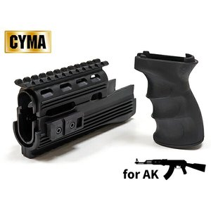 電動ガンAK47シリーズ対応 CYMA製 レイルハンドガード & タクティカルグリップ セット BK CY-C49|naniwabase