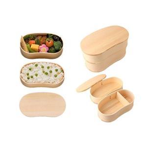 若兆 木製曲げわっぱ弁当箱 豆型二段 豆二段 ナチュラル インバウンド 日本土産 FH24W